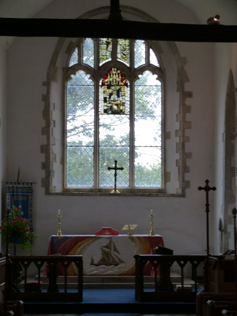 View of the altar and east window in Bredgar church