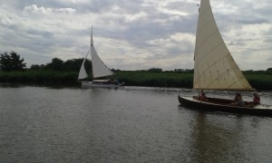 Picture of our two boats sailing from St. Benets Abbey