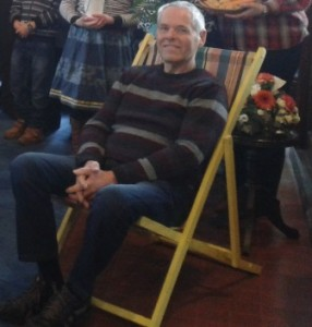 Member fo congregation sitting in deck chair